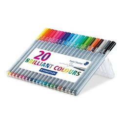 Staedtler Triplus Fineliner Pens, .3mm, Metal Clad Tip, 20-Pack, Assorted