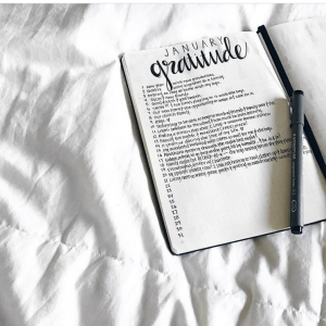 Gratitude trackers in your journal. This is a collection of several from Instagram. Thanks @tiffanyzajas!