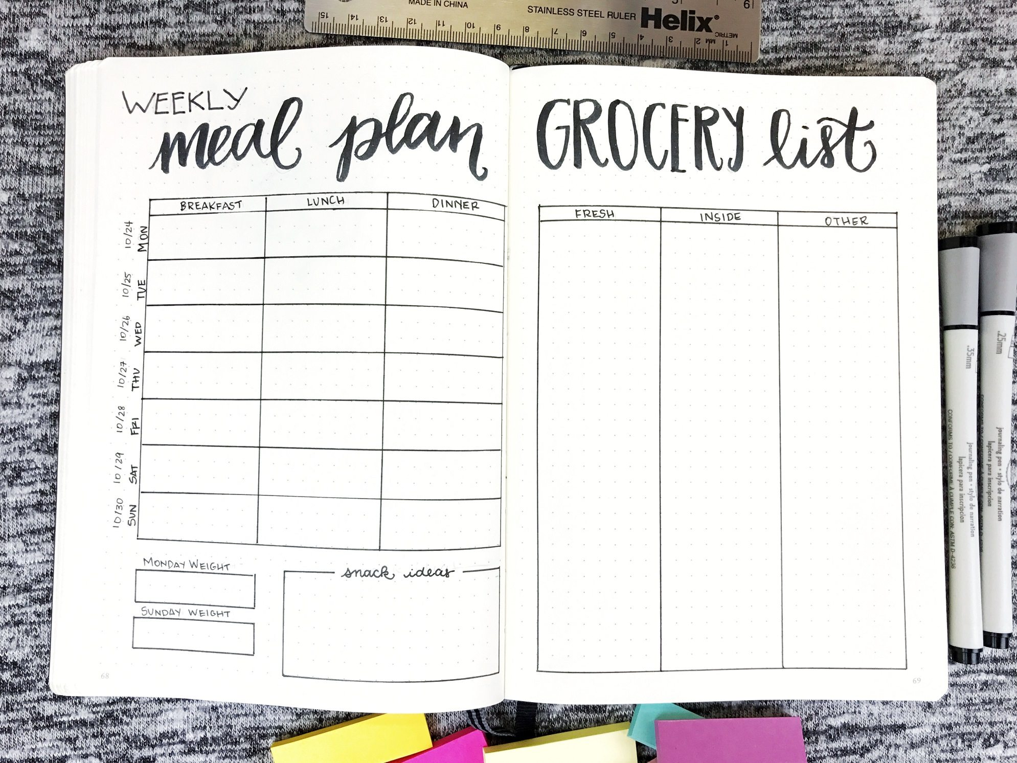 weekly meal planner grocery list in your journal life by whitney