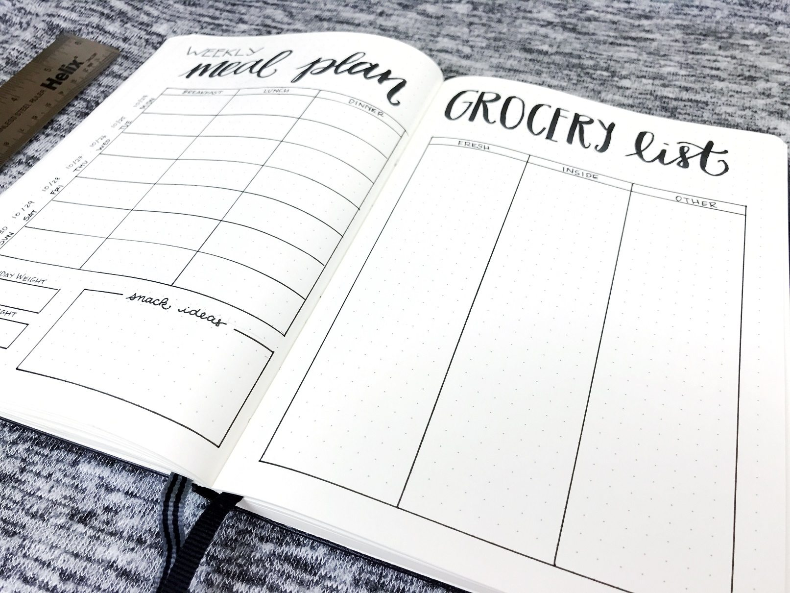 journal Weekly Meal Planner & Grocery List (Free Version)