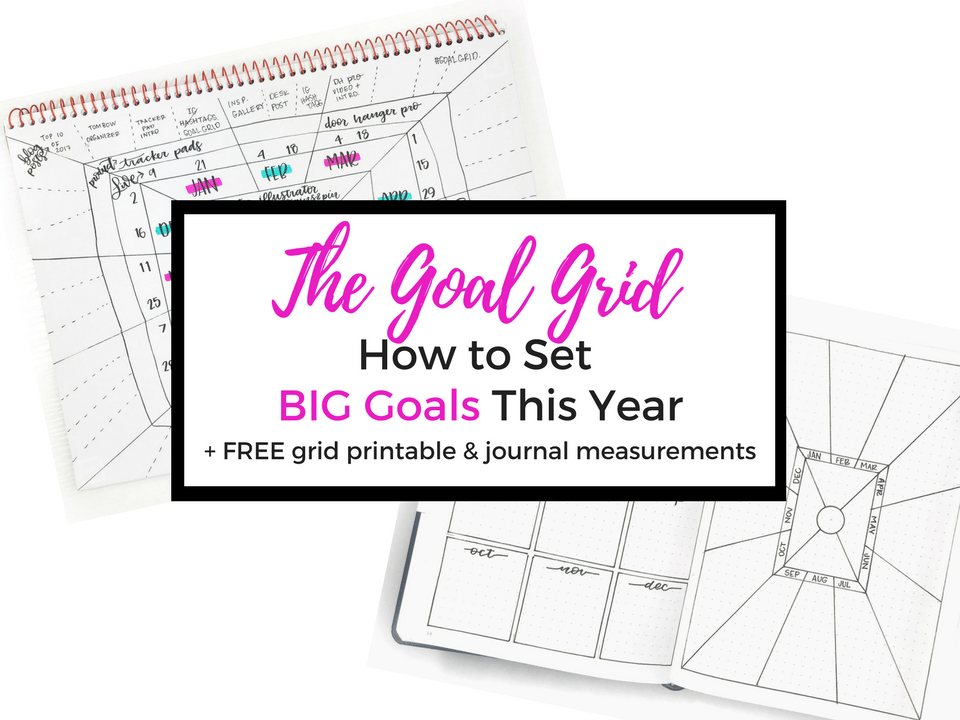 Learn how to set your BIG goals this year with the Goal Grid! Plus - get a blank grid #printable and measurements so you can to add it to your journal! #goalgrid