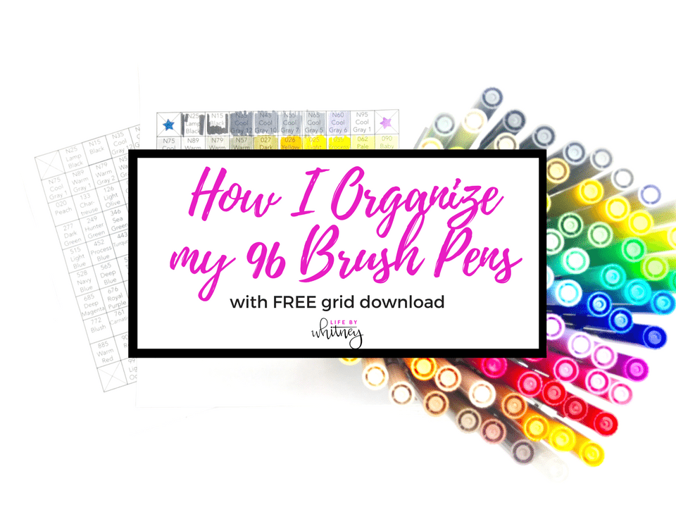 How I Organize My 96 Tombow Dual Brush Pens with a free printable grid!