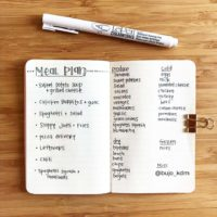Plan your meals AND grocery list on one spread in your journal like @bujo_kdm. Check out 50+ meal planning, grocery shopping, meal tracking, meal ideas, food doodling, booze tracking, menu planning, and more at lifebywhitney.com