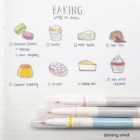 Love these baking doodles from @living.vivid! Check out 50+ meal planning, grocery shopping, meal tracking, meal ideas, food doodling, booze tracking, menu planning, and more at lifebywhitney.com.