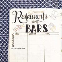 Track restaurants and bars you want to try like @bujo.coffee.wine. Check out 50+ meal planning, grocery shopping, meal tracking, meal ideas, food doodling, booze tracking, menu planning, and more at lifebywhitney.com.