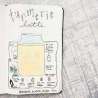 Love this recipe draw-up of a turmeric latte from @blank_space_bujo. Check out 50+ meal planning, grocery shopping, meal tracking, meal ideas, food doodling, booze tracking, menu planning, and more at lifebywhitney.com.