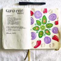 Draw your recipes in your journal like this pretty one from @bujo_kdm ~ Check out 50+ meal planning, grocery shopping, meal tracking, meal ideas, food doodling, booze tracking, menu planning, and more at lifebywhitney.com.