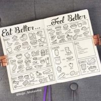 Love these healthy food doodles from @bujo_blossoms. Check out 50+ meal planning, grocery shopping, meal tracking, meal ideas, food doodling, booze tracking, menu planning, and more at lifebywhitney.com.