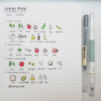 Love these healthy food doodles from @living.vivid! Check out 50+ meal planning, grocery shopping, meal tracking, meal ideas, food doodling, booze tracking, menu planning, and more at lifebywhitney.com.