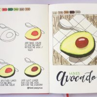 Doesn't this avocado from @teal.papyrus look YUMMY. Check out 50+ meal planning, grocery shopping, meal tracking, meal ideas, food doodling, booze tracking, menu planning, and more at lifebywhitney.com.