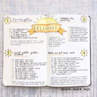Some great breakfast recipe ideas in a beautiful journal spread from @blank_space_bujo. Check out 50+ meal planning, grocery shopping, meal tracking, meal ideas, food doodling, booze tracking, menu planning, and more at lifebywhitney.com.