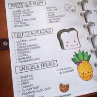 Keep up with kids lunch ideas in your journal like @craftydeesigns. Check out 50+ meal planning, grocery shopping, meal tracking, meal ideas, food doodling, booze tracking, menu planning, and more at lifebywhitney.com.