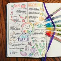 Love this Eat the Rainbow spread from @rainbowbulletjournal - Check out 50+ meal planning, grocery shopping, meal tracking, meal ideas, food doodling, booze tracking, menu planning, and more at lifebywhitney.com.