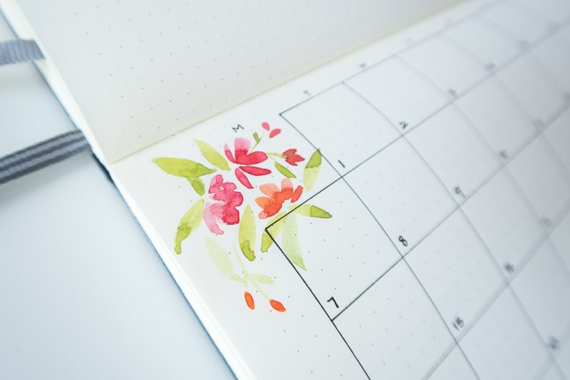 Learn to use watercolors in your bullet journal with these 5 simple techniques from Susan at raeandlily.com!