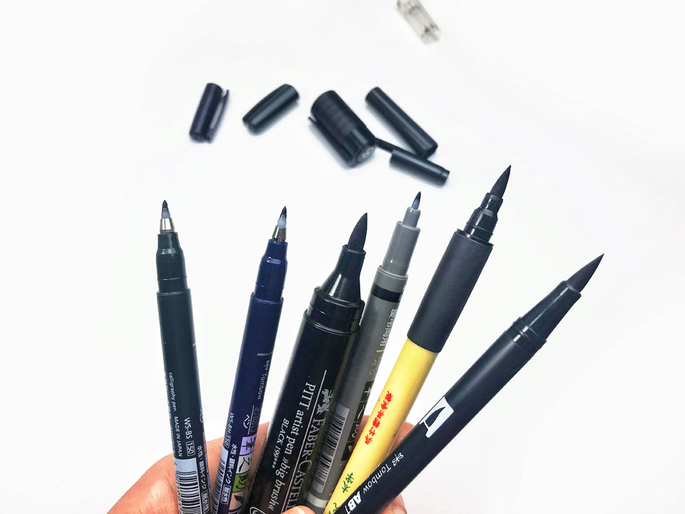 10 Black brush pens - a comparison for all skill levels: beginner, intermediate, and advanced letterers!